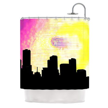 "Infinite Spray Art ""Skylined"" Pink Yellow Shower Curtain"