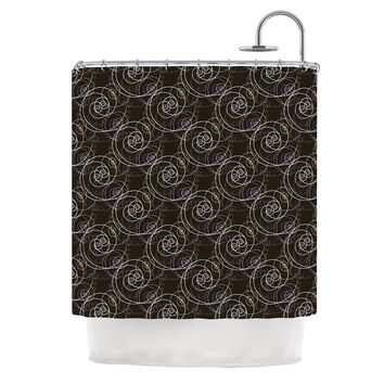 "Mydeas ""Nautical Breeze - Spiral Swirls"" Brown Pattern Shower Curtain"