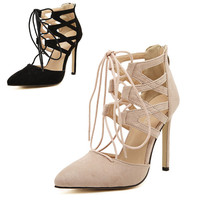 Sexy Cutout Lace Up Pointed Toe High Heel Pumps