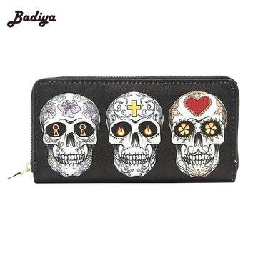 Zipper Design Clutch Purse Skull Expression Printing Women Wallet For Woman  Ladies Phone Holder Card Holder