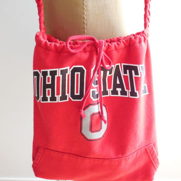 Ohio State Sweatshirt Purse / Red Black Gray / School Tote / Women / Drawstring / Winter / Handmade / Cotton / Soft / Gift for Her / ohzie