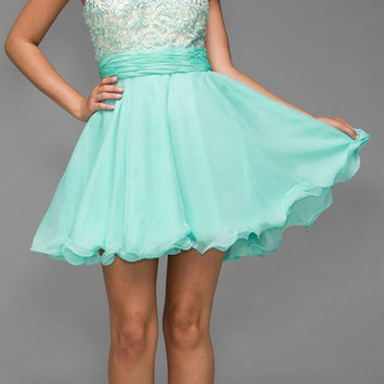 Short Strapless Sweetheart Sweet 16 Dress Mint Green Lace Bodice
