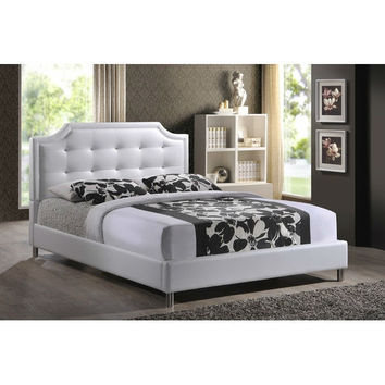 Full size Upholstered Button Tufted Platform Bed with Headboard in White Faux Leather