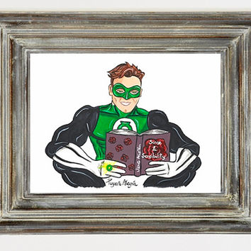 A4 Print. Green Lantern Print. Superhero wall art.