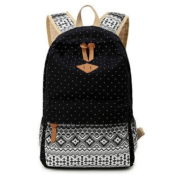 Women's Black Polka Dots Backpack for College Bookbag for Teen Girls School Bag - gift