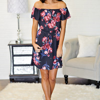 * Tabby Floral Off The Shoulder Dress: Charcoal