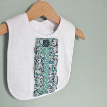 Baby girl bib, with green and blue flowers ruffle detail, girl baby shower gift, baby girl clothes