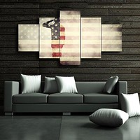 5 Panel Vintage American Flag Military canvas Soldier Print art USA home decor US wall art Hooks pictures for living room morden poster painting Framed Hooks Ready to hang(50''Wx24''H)
