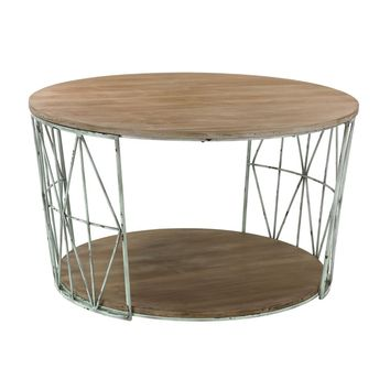 Round Wood & Metal Coffee Table Grey Natural Oak