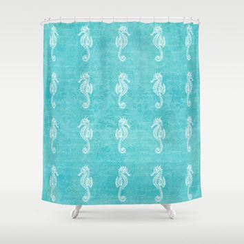 Seahorses Fabric Shower Curtain, aqua home decor,teal,turquoise,nautical,coastal bath decor