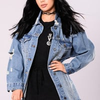 Miss Stressed Denim Jacket - Medium Wash