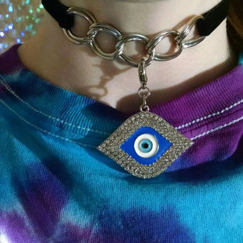 Evil Eye Black Velvet & Chain Choker Collar