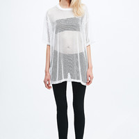 Vinti Andrews Mesh Oversized Tee in White - Urban Outfitters