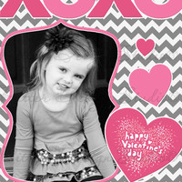 XOXO Chevron Personalized Valentines Day Card - Printable