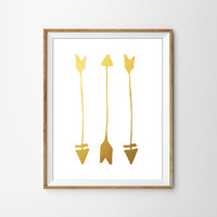 Gold Foil Arrows Print. Minimalist Home Decor. Modern Home Decor. Faux Gold Foil Print. Shabby Chic Decor. Rustic Art. Bedroom Art.