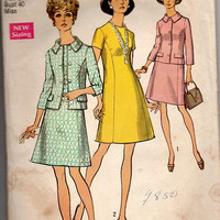 Retro Mad Men Style Business Suit Casual Dress Jacket 70s Simplicity Sewing Pattern A-line Plus Size Bust 40