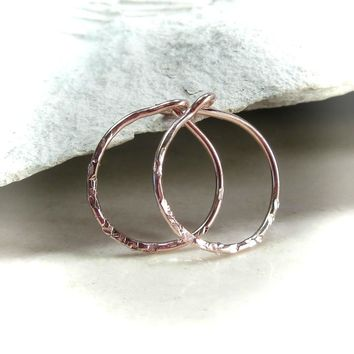 Tiny Hoop Earrings Rose Gold Sparkle