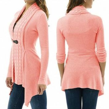 New Women Pink Plain Studded V-neck Casual Dacron Cardigan Sweater