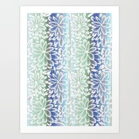 Floral Fancy Pattern in Green, Blue and White Art Print by Jennifer Warmuth Art And Design