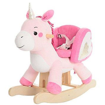 labebe Child Rocking Horse Toy, Pink Rocking Horse Plush, Unicorn Rocker Toy for Kid 1-3 Years, Stuffed Animal Rocker Toy/Child Rocking Toy for Girl/Wooden Rocking Horse Pink/Rocker/Animal Ride on