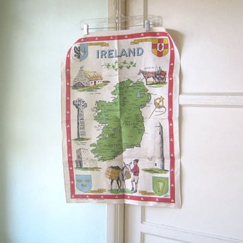 Vintage Map of Ireland Irish Linen Tea Towel by Nelson - Cute Green/Cream/Red Tea Towel with Boy, Burro, Jaunting Car, Irish Landmarks