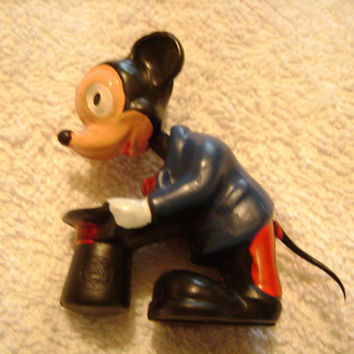 Vintage Mickey Mouse 1940s Walt Disney Minature Bobble Head Nodder Figure Estate Piece made in Hong Kong Marx Toys