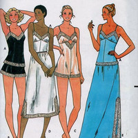 Butterick 6361 Sewing Pattern Lingerie Negligee Nighty Sexy Baby Doll Pajamas Full Half Slip Teddy Camisole Uncut Bust 24