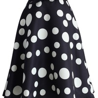 My Dots and Bow A-line Skirt in Black