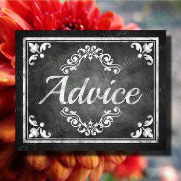 ADVICE Printable Wedding or Graduation Sign - DIY - Download and Print