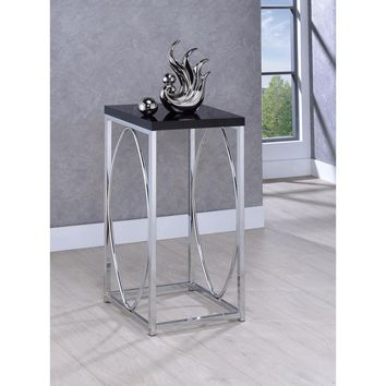Well-Designed Charismatic Metal Accent Table , Black And Silver By Coaster