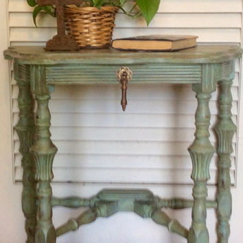 Vintage  Green Shabby Chic Side Table