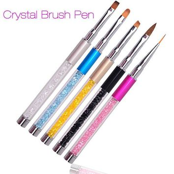 DCK9M2 Nail Art Brush Pen Rhinestone Diamond Metal Acrylic Handle Carving Powder Gel Liquid Salon Liner Nail Brush With Cap 2016 New
