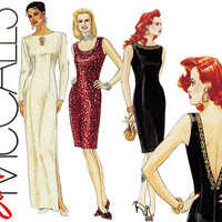 1990s Dress Pattern Uncut Bust 30 McCalls 5144 Low Back Sheath Dress Formal Evening Maxi Wedding Cocktail Prom Womens Vintage Sewing Pattern