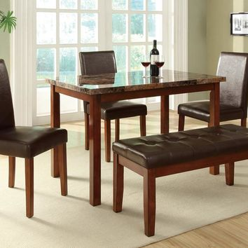 5 Piece Dining Set With Chairs And Bench In Brown By Poundex