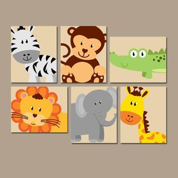 JUNGLE Animal Wall Art, Safari Animals Nursery Decor, Jungle Animals Canvas or Print, Gender Neutral Nursery, PLAYROOM Artwork, Set of 6