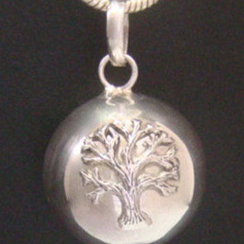 Unique Harmony Ball Necklace with an Antique finish 'Tree of Life' on the Highly Polished 925 Sterling Silver Ball - Impressive Harmony Ball