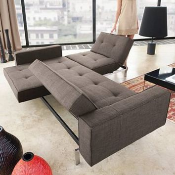 Innovation Oz Deluxe Dark Brown Textile Convertible Sofa - Modern Living Room Furniture at Hayneedle