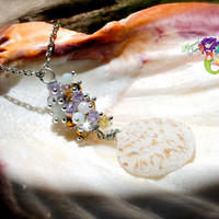 Shell Necklace from Hawaii, seashell Hawaiian jewelry for beach brides by Mermaid Tears