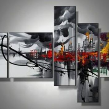 Modern Abstract Oil Painting on Canvas landscape 5pcs/set