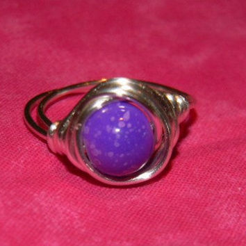 Wire Wrapped boho ring - simple - chic - purple