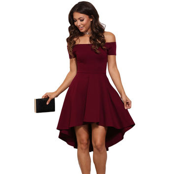 Fashion Solid Color Off Shoulder Short Sleeve Irregular Mini Dress