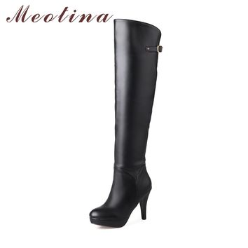 Meotina Winter Thigh High Boots Shoes Women Over the Knee Boots Platform High Heel Boots Zip Sexy Lady Shoes Big Size 12 45 46