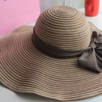 T-explorer®women Ladies Romantic Flower Straw Hat Wide Brim Sun Visor Hat Floppy Hat for Summer with Family Shop Beautiful Hairpin