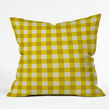 Holli Zollinger Yellow Gingham Throw Pillow