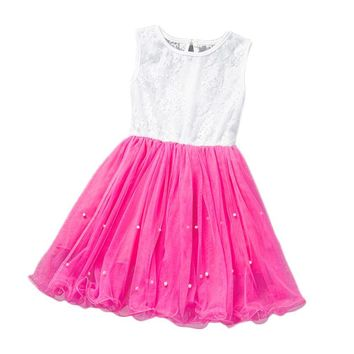 Girls Princess Party Dress Flower Sleeveless Summer Lace Mini Tutu Dresses Gown robe fille enfant Costume Clothing For Girls