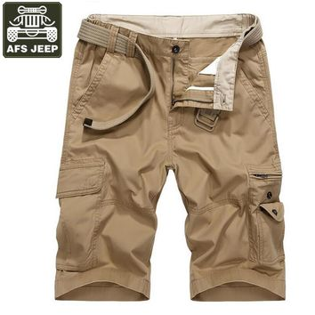 AFS JEEP Brand Cargo Shorts Men Denim Shorts Straight Fashion Bermudas Masculina de marca Multi-pockets Mens Shorts Homme
