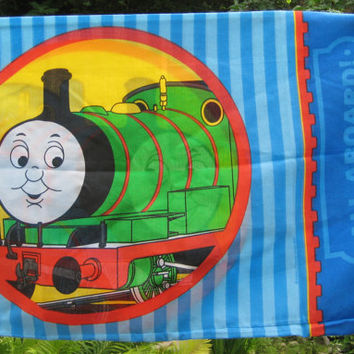 Thomas the Tank Engine & Friends Train Bedding Pillow Case Standard Size Craft Fabric Clean Used