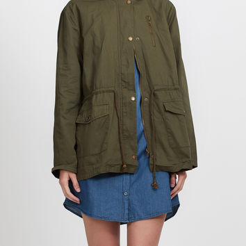 LE3NO Womens Military Anorak Safari Jacket with Hoodie