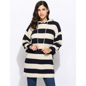 Casual Long Sleeve Striped Pullover Hoodie Sweater