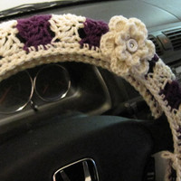 Crochet Steering Wheel Cover, Wheel Cozy with a Flower- aran/dark orchid (CSWC 8G-F2)